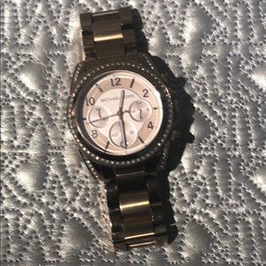 Authentic Michael Kors goldtone watch w/ CZ face